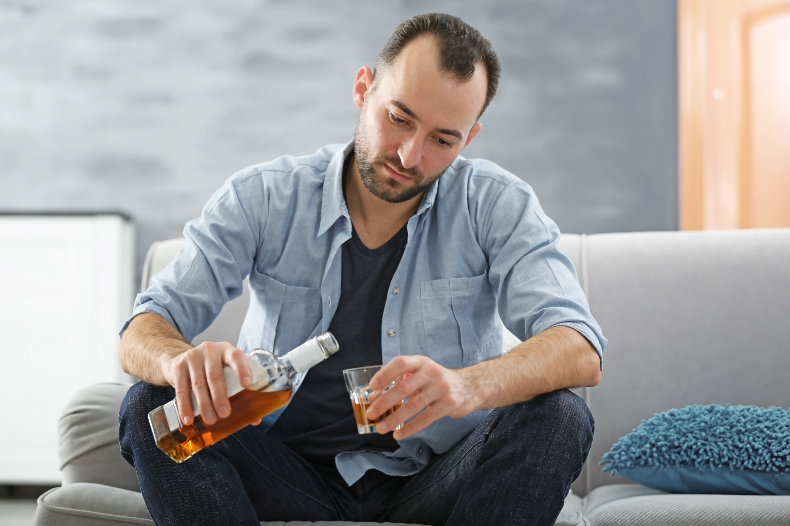 Male Struggling with Alcoholism